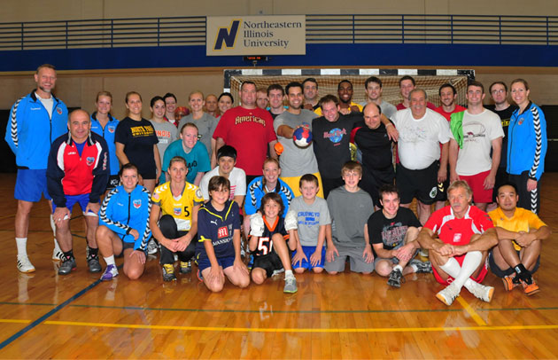 All handball rookies and volunteers pose together